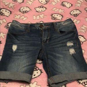 SO Girls Distressed Denim Bermuda Shorts